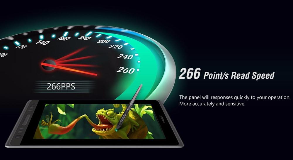 HUION GT - 116 11,6 hüvelykes digitális tábla rajzolólap Powerless Pen IPS LCD képernyő 8192 nyomásérzékenység 5080LPI 266PPS - fekete