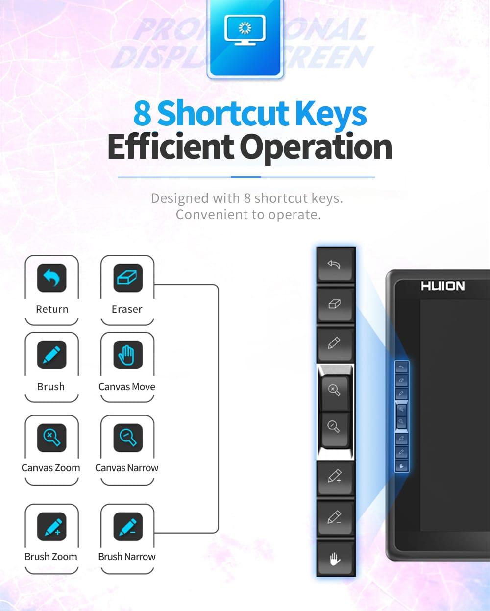 Huion GT - 185 digitális tábla rajzolópanel 18,5 hüvelykes IPS HD képernyő 2048 Pressure Sense 5080LPI 233PPS - fekete