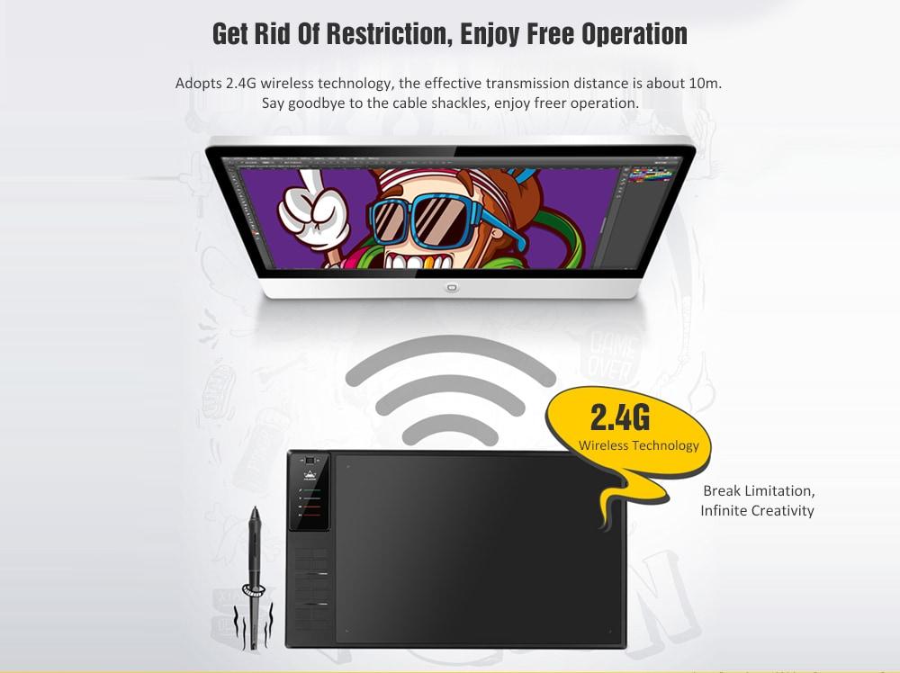 Huion WH1409 V2 vezeték nélküli / vezetékes digitális tábla 8192 nyomás / 266PPS olvasási sebesség / 5080LPI - fekete