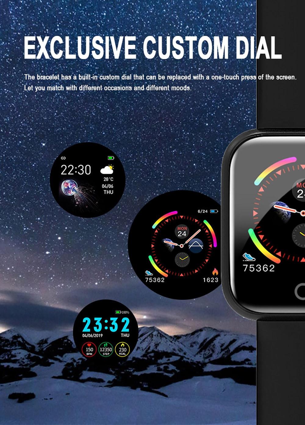 I5 Dinamikus nyomás Időjárás-előrejelzés Intelligens karkötő Sport lépésszámláló Alvásfigyelő karkötő Watch Smart - Pink