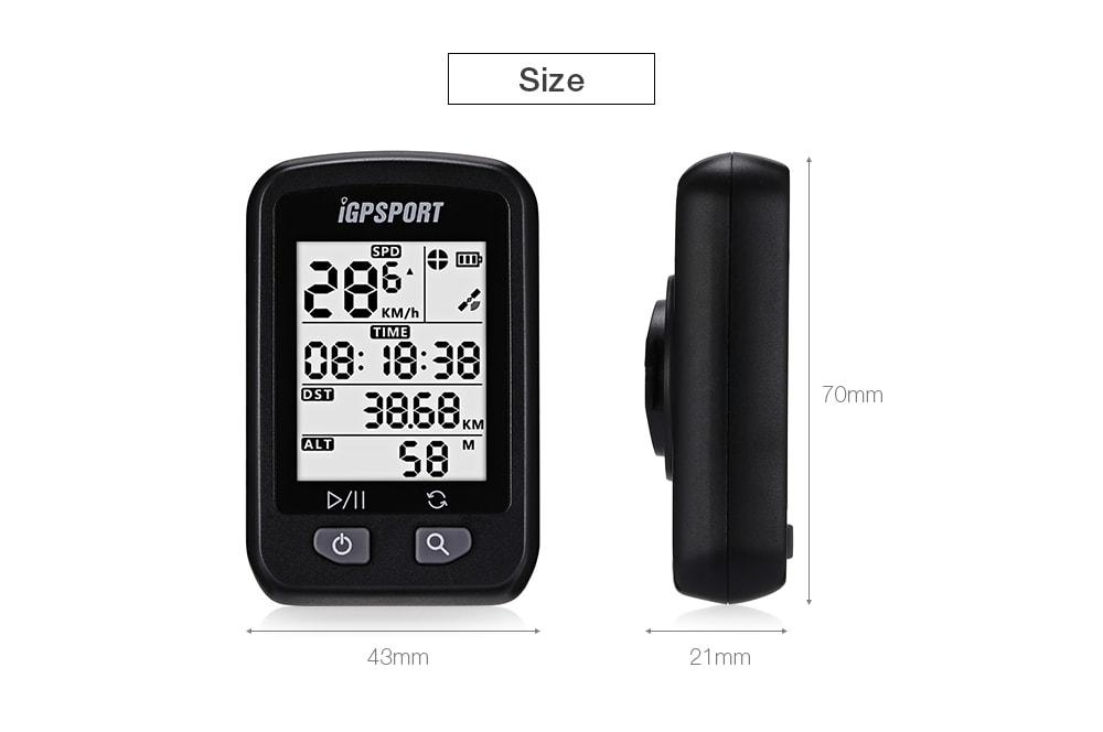 iGPSPORT iGS20E vezeték nélküli GPS kerékpáros számítógép-mérőóra - fekete