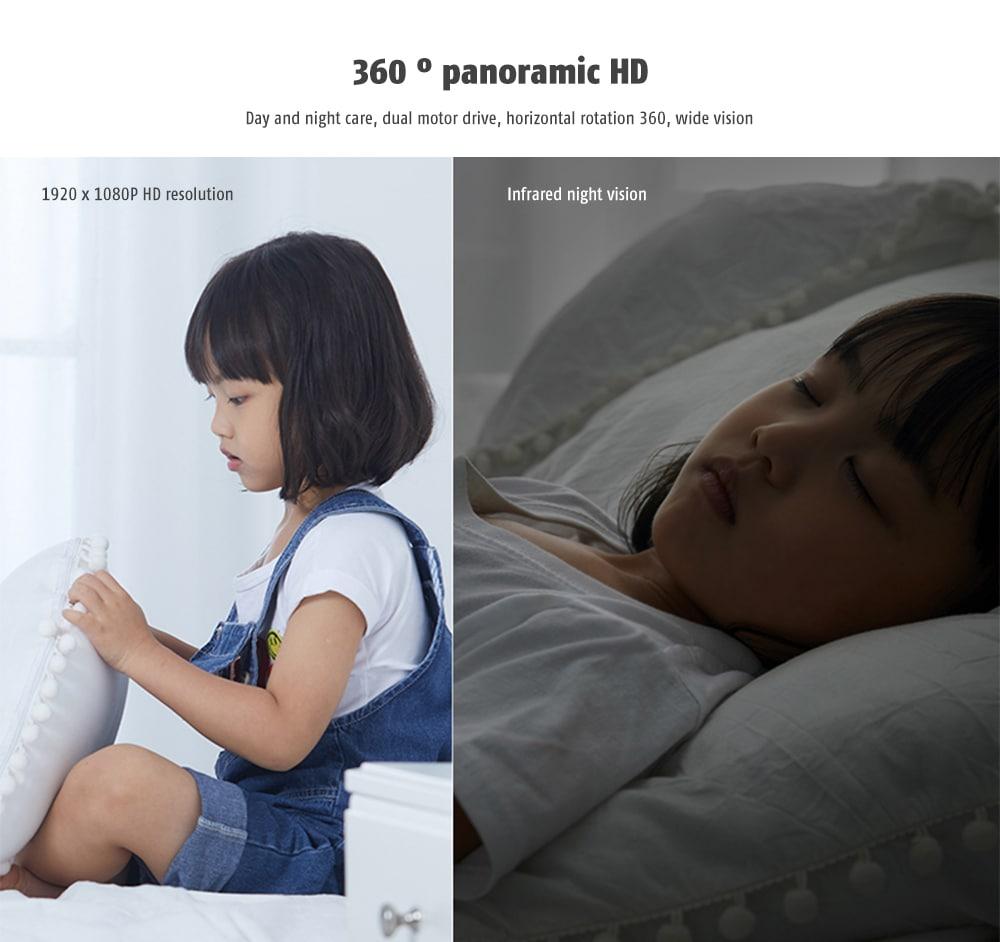 IMILAB infravörös éjszakai látás / 360 fokos panoráma / 1080P / Al humanoid érzékelés / H.265 intelligens otthoni vezeték nélküli kamera (Xiaomi ökoszisztéma termék) - Fehér EU-csatlakozó