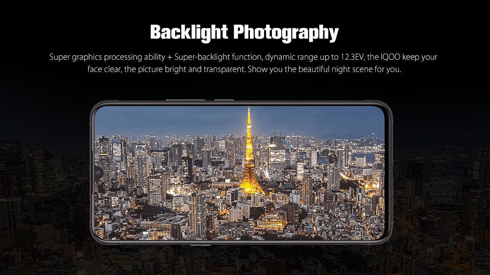 iQOO ( Vivo ) 4G Phablet 6.41 inch Funtouch OS 9 Qualcomm Snapdragon 855 Octa Core 2.84GHz Adreno 640 8GB RAM 128GB ROM 3 Rear Camera Fingerprint Sensor Face ID 4000mAh Built-in- Chocolate