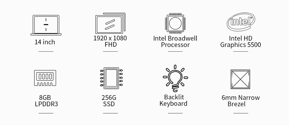 Jumper EZBook X4 Pro Notebook 14.0 hüvelykes Windows 10 Otthoni verzió Intel Core i3-5005U Dual Core 2.0 GHz 8GB RAM 256 GB SSD 2.0MP kamera HDMI 5000mAh Beépített - Ezüst
