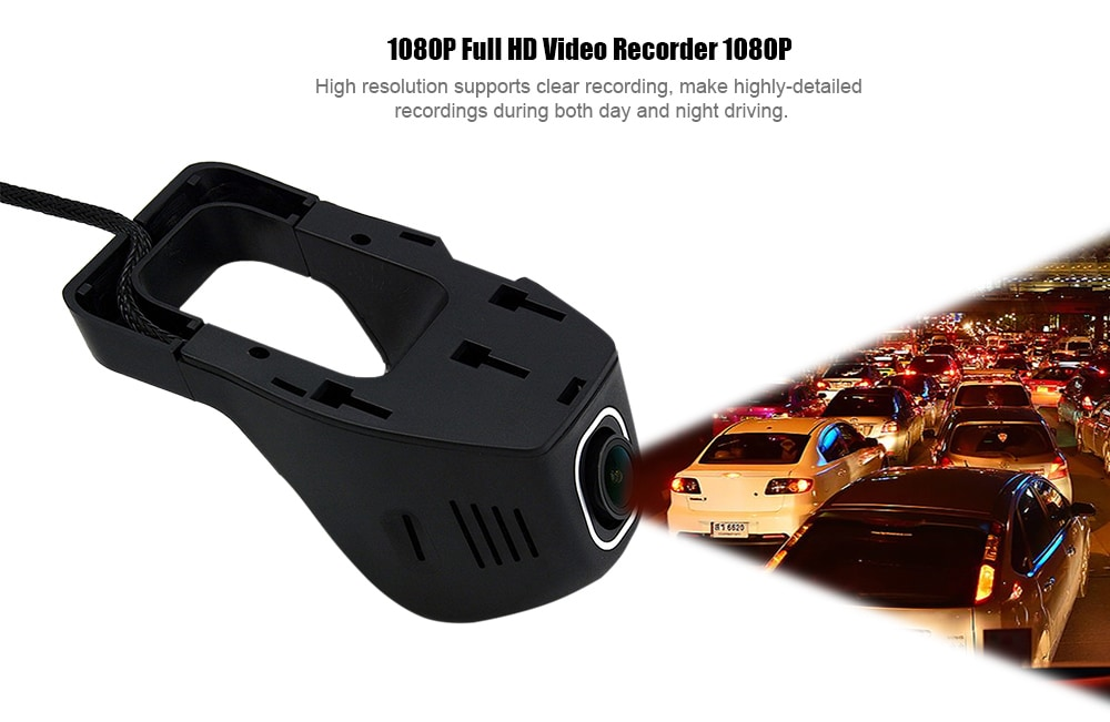 Junsun S100 1080P Full HD 170 fokos széles szög WiFi autós DVR kamera felvevő Éjszakai látás G-érzékelő hurok ciklus rögzítése - fekete