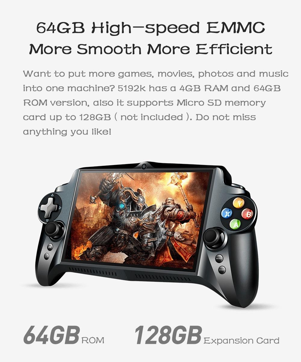 JXD S192K játék Phablet 7 hüvelykes IPS képernyő Gamepad Quad-core 1.8GHz ARM Cortex - A17 / 4GB DDR3 RAM / 64 GB nagy sebességű EMMC az Andriod 5.1-Black