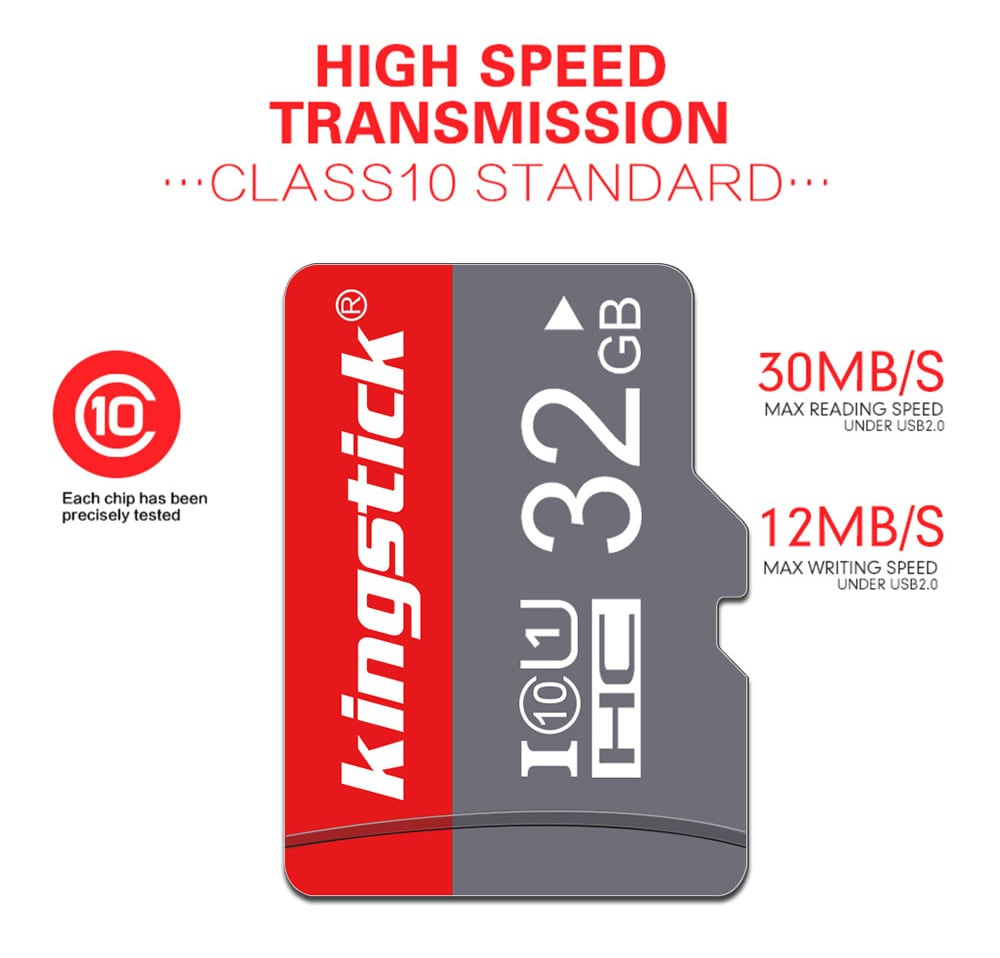 Kingstick Micro SD / TF Memory Card with Holder High Speed Read / Write- Gray Cloud 128GB