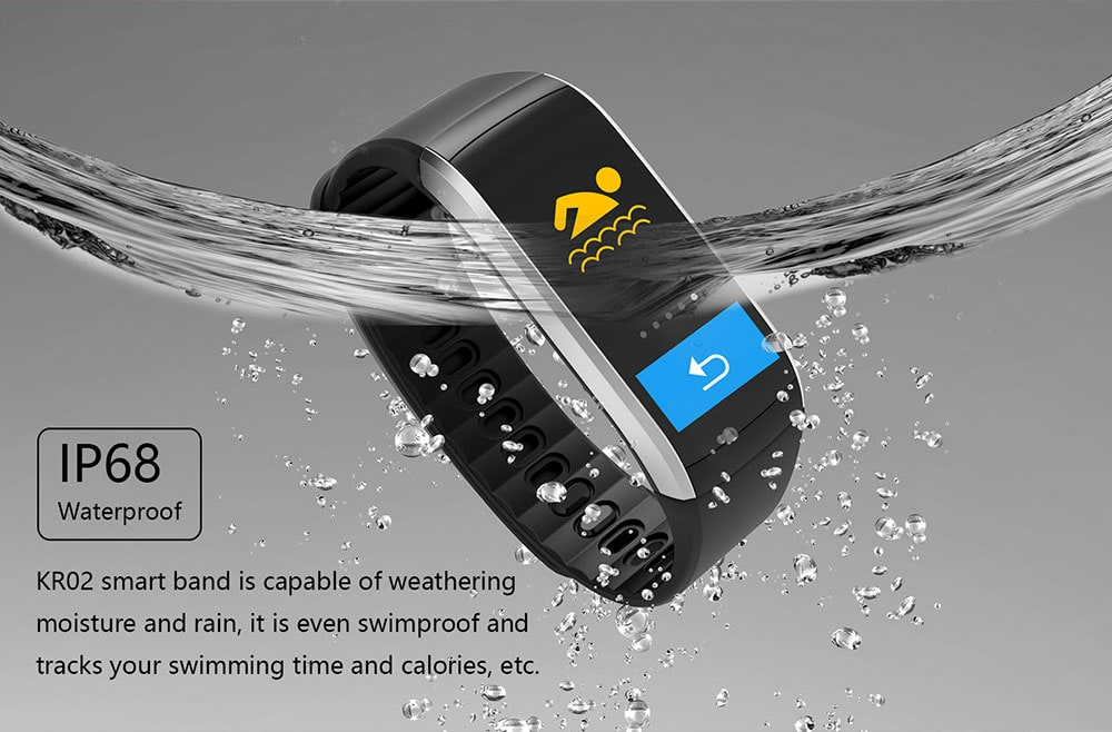 KingWear KR02 Smart Bracelet 0.96 inch NRF52832 64KB RAM 512KB ROM Heart Rate Monitor IP68 Waterproof GPS Bluetooth 4.0- Silver