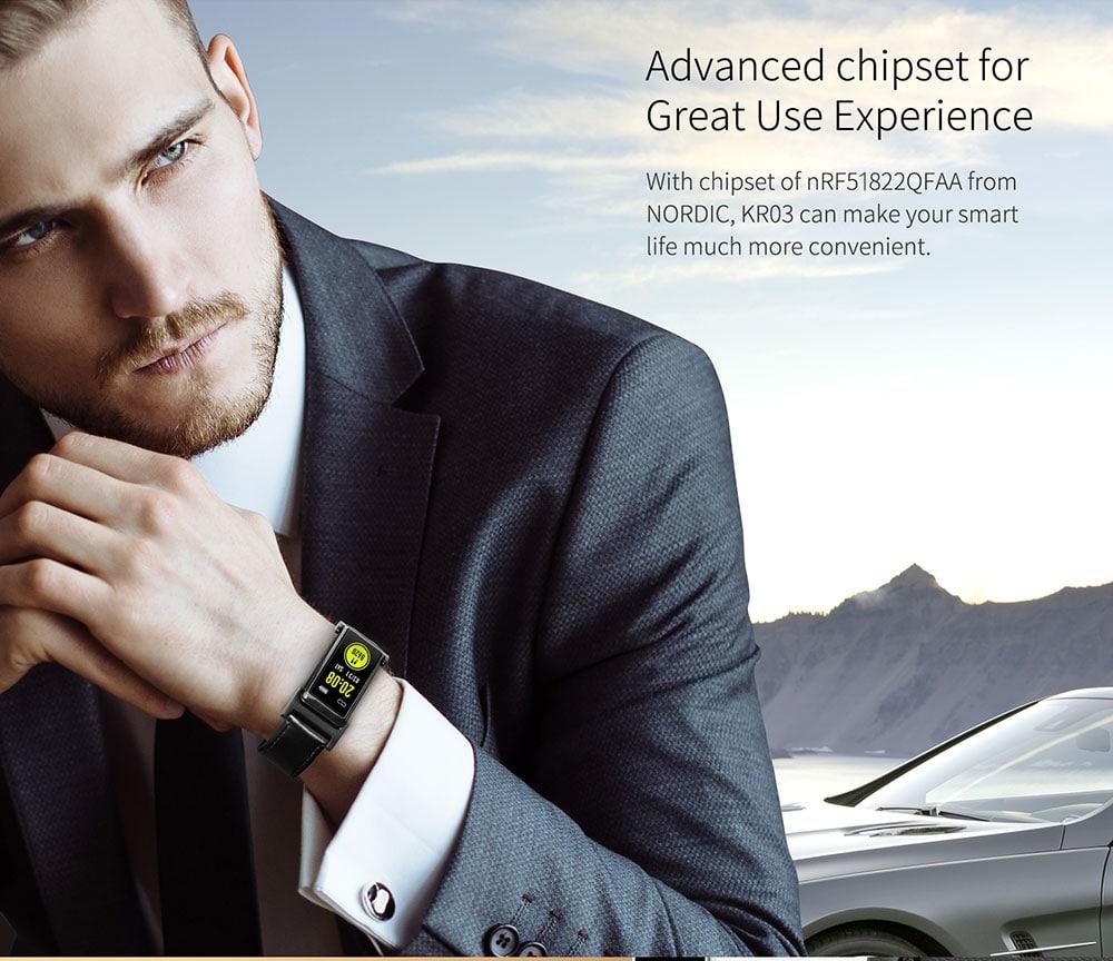 KingWear KR03 Smart Bracelet 0.96 inch nRF51822QFAA 64KB RAM 512KB ROM Heart Rate Monitor Step Count Sedentary Reminder IP68 140mAh Built-in- Gold