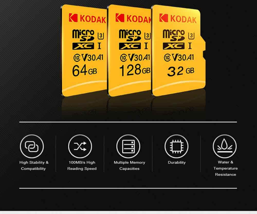 Kodak nagysebességű U3 A1 V30 TF / Micro SD memóriakártya / 32 GB / 64GB / 128 GB támogatás 4K-sárga 64 GB