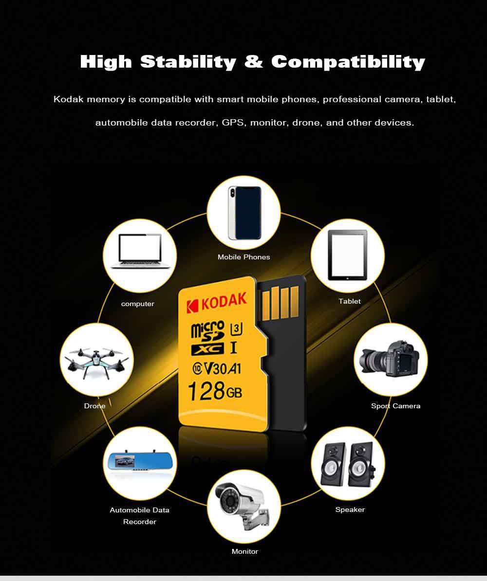 Kodak High Speed U3 A1 V30 TF / Micro SD Memory Card / 32GB / 64GB / 128GB Support 4K- Yellow 32GB