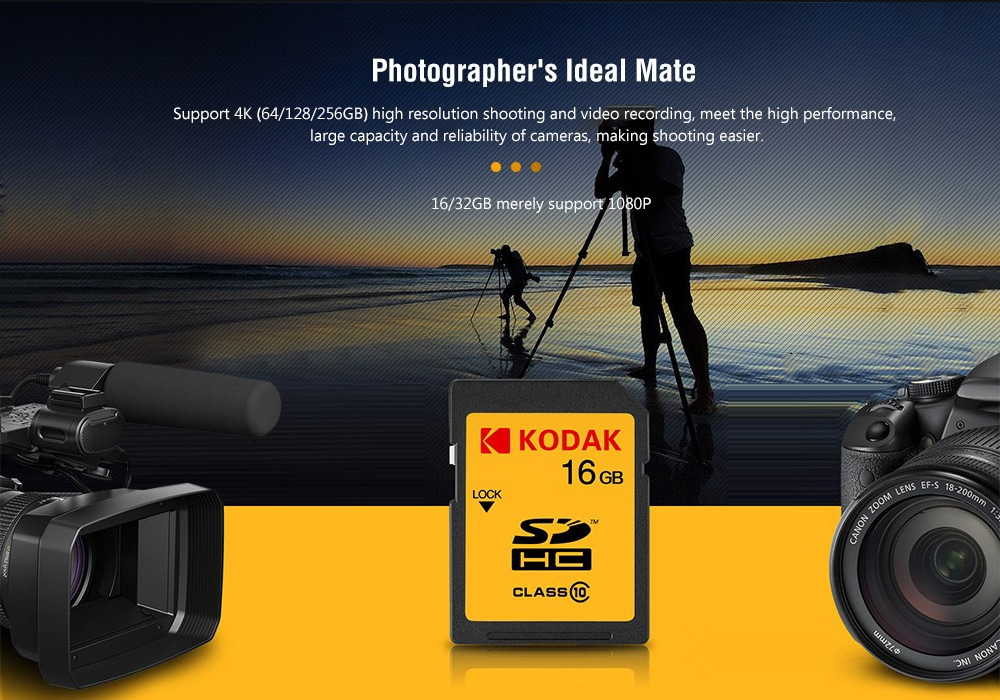 Kodak U3 A1 V30 4K HD Water-proof SD Card - Mustard 128GB