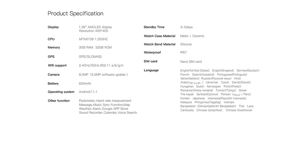 Kospet Hope 4G Smartwatch telefon 1.39 hüvelykes Android 7.1 MTK6739 Quad Core 1.3GHz 3 GB RAM 32 GB ROM 8.0 MP kamera 620mAh Beépített - fekete