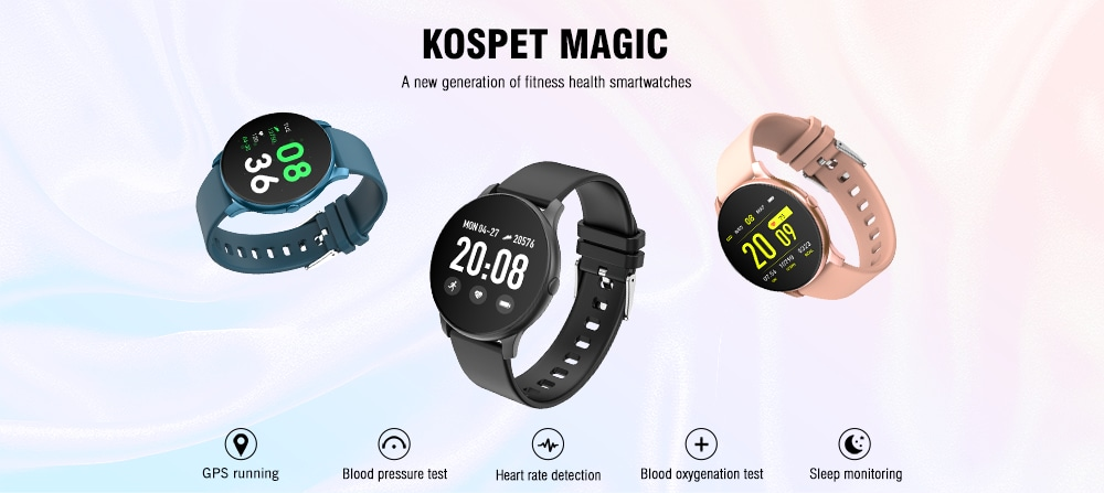 Kospet Magic GPS / Blood Pressure Test / Heart Rate Detection Smart Watch- Blue Gray