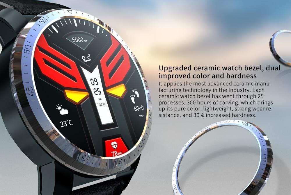 Kospet Optimus Pro Kettős rendszer / WiFi GPS / Android 7.1.1 Rendszer / Sportmenedzsment / 8.0MP kamera / 3 GB RAM / 32GB ROM Smart Watch- Fekete