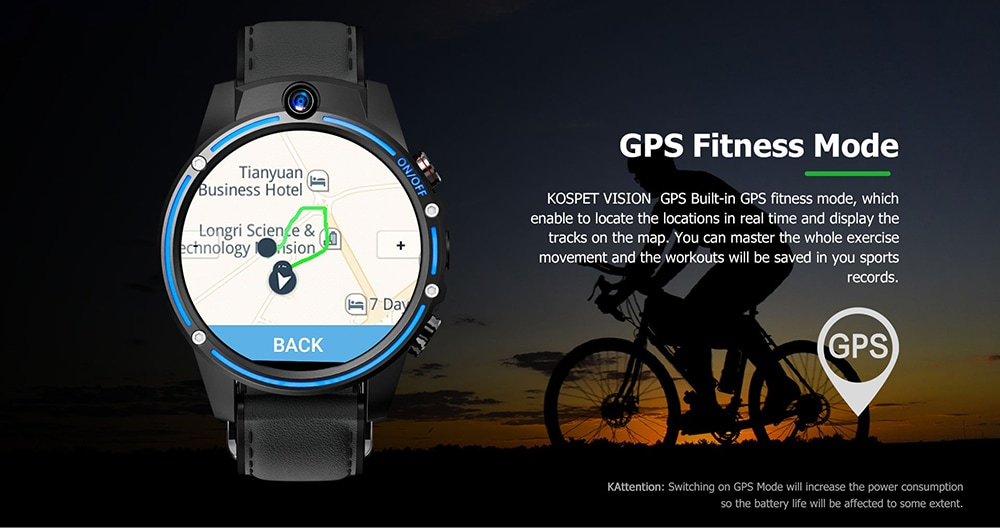 Kospet Vision 1.6 inch IPS Screen / Android 7.1 / GPS / Mixed Strap 4G Dual Camera Smart Watch Phone - Blueberry Blue