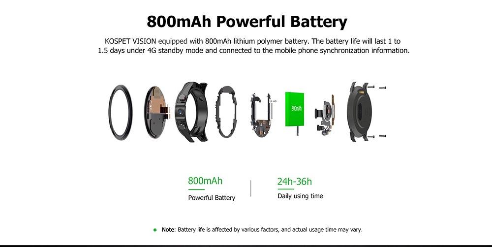 Kospet Vision 1,6 hüvelykes IPS képernyő / Android 7.1 / GPS / Vegyes hevederes 4G kettős kamera intelligens telefon - piros
