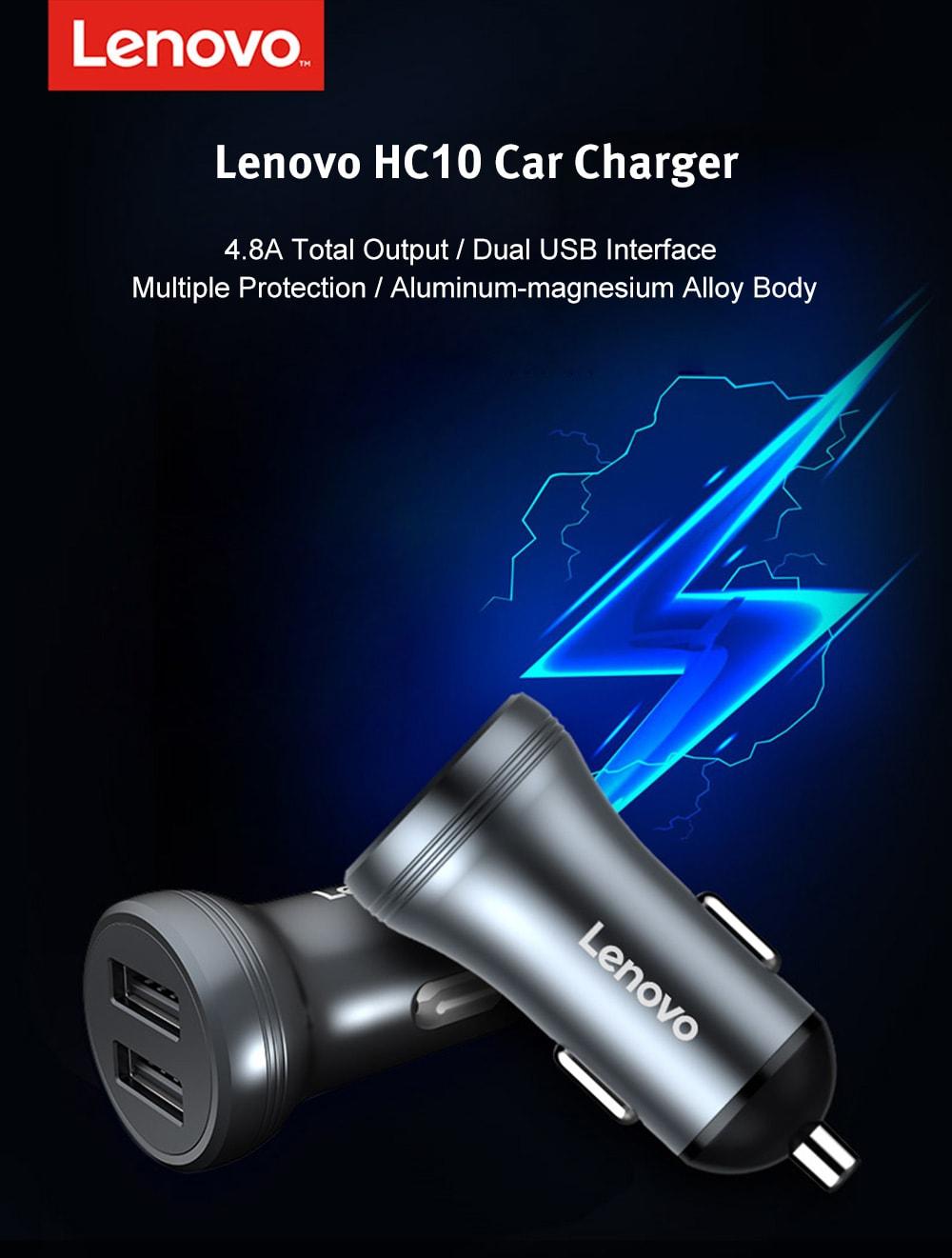 Lenovo HC10 4.8A kettős USB portok Alumínium-magnézium ötvözet autós töltő - fekete