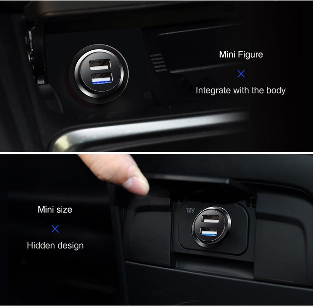 Lenovo HC11 Mini hordozható kettős USB port autós töltő - fekete