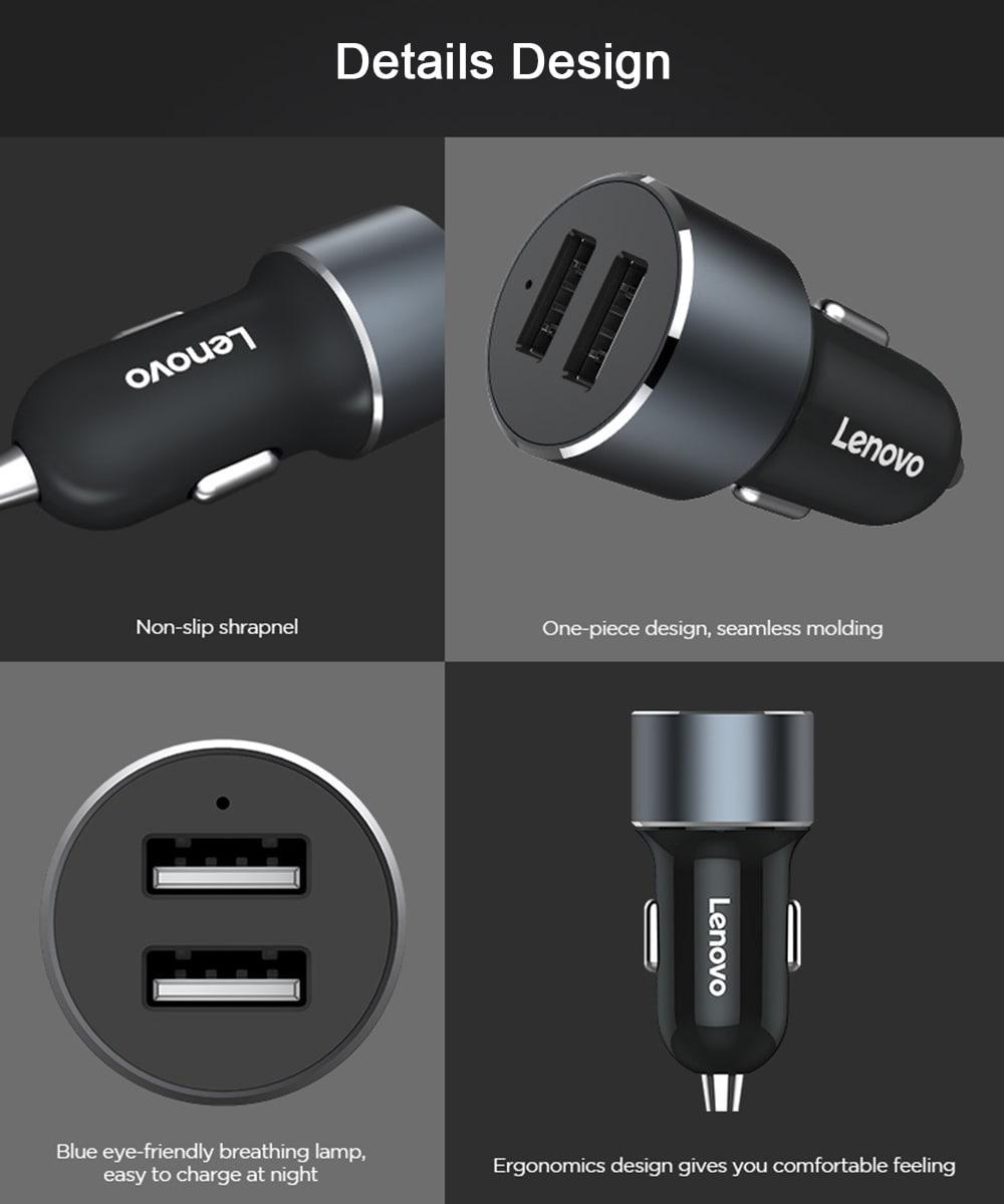 Lenovo HC12 mini kettős USB portok univerzális autós töltő- fekete