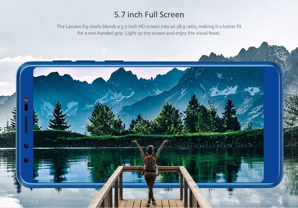 Lenovo K9 4G Phablet 5.7 inch Android 8.1 MTK6762 Octa Core 2.0GHz 4GB RAM 32GB ROM Quad Camera Fingerprint Sensor 3000mAh Built-in- Black