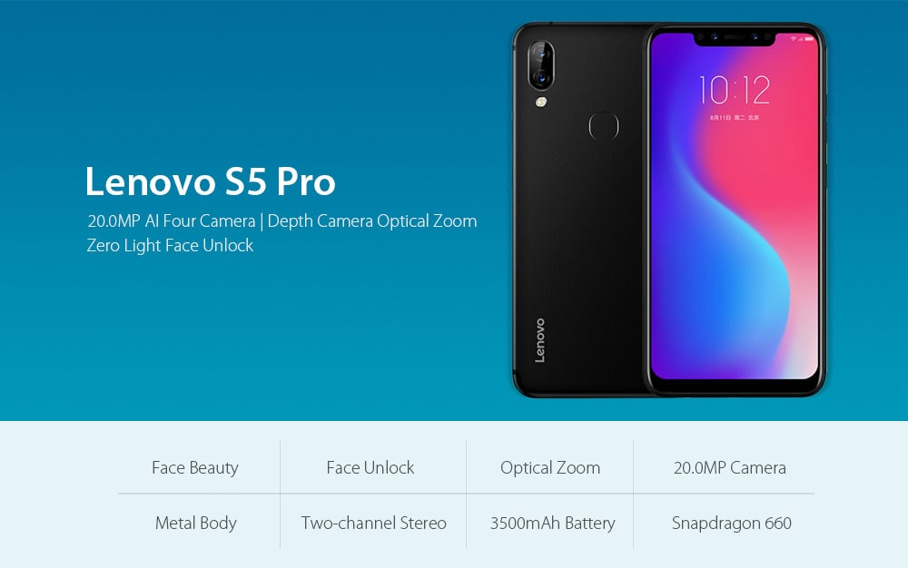 Lenovo S5 Pro 4G Phablet 6.2 inch ZUI10 ( Android 8.1 ) Qualcomm Snapdragon 636 Octa Core 1.8GHz 6GB RAM 64GB ROM Quad Camera Fingerprint Sensor 3500mAh Built-in - Black
