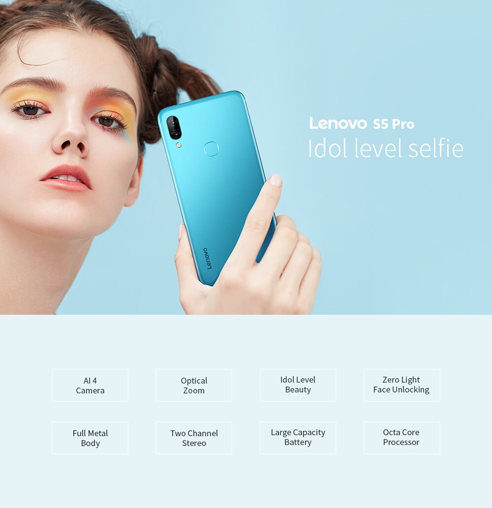 Lenovo S5 Pro 4G Phablet 6.2 inch Android 8.1 Snapdragon 636 Octa Core 6GB RAM 128GB ROM 12.0MP + 20.0MP Rear Camera 3500mAh Battery- Celeste