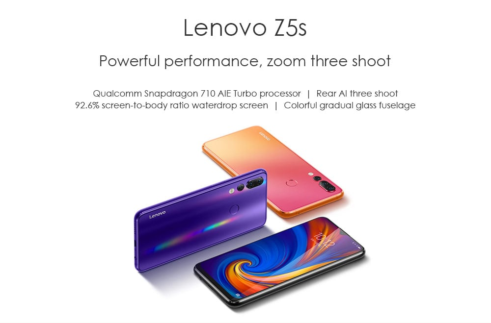 Lenovo Z5s 4G Phablet 6.3 inch Android P Qualcomm Snapdragon 710 Octa Core 4GB RAM 64GB ROM 16.0MP Front Camera Fingerprint Sensor 3300mAh Built-in  - Blue