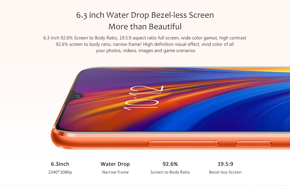Lenovo Z5s 4G Phablet 6.3 inch Android P Qualcomm Snapdragon 710 Octa Core 2.2GHz + 1.7GHz 6GB RAM 64GB ROM 16.0MP + 8.0MP + 5.0MP Rear Camera 3300mAh Battery- Blueberry Blue