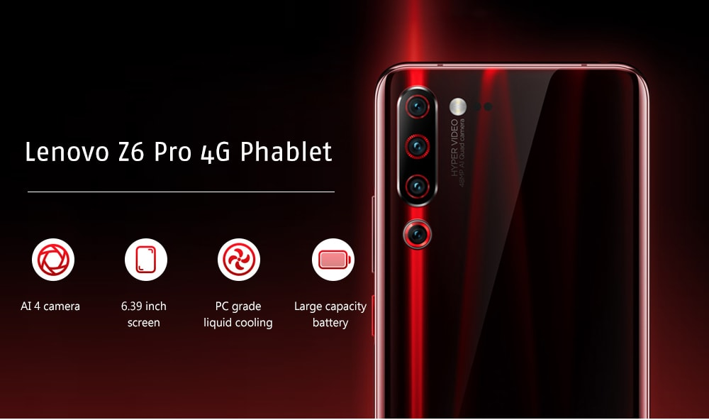 Lenovo Z6 Pro 4G Phablet 6.39 inch Android 9.0 Snapdragon 855 Octa Core 8GB RAM 128GB ROM 48.0MP + 16.0MP + 8.0MP + 2.0MP Rear Camera 4000mAh Battery- Black