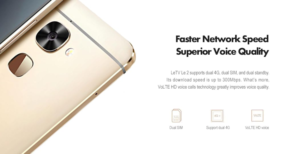 LeTV Le X526 4G Phablet 5,5 hüvelykes Android 6.0 Snapdragon 652 Octa Core 1,8 GHz-es 3GB RAM 64GB ROM 16,0MP Hátsó kamera ujjlenyomat-érzékelő 3000mAh Beépített-Arany