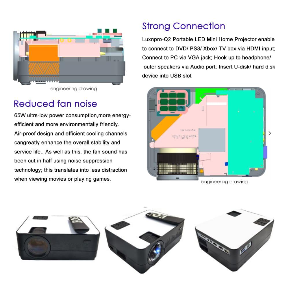 LUXNPRO Q2 LED Smart Home Projector 800 x 480 / 3400 Lumens / Support HDMI / SD / USB / VGA / AV / TV- Black EU Plug