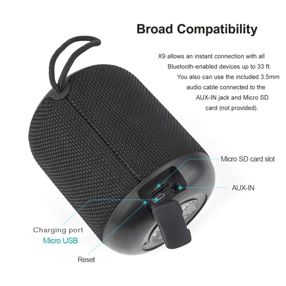 Lymoc X9 védett IPX5 vízálló Bluetooth 4.2 vezeték nélküli hangszóró-fekete