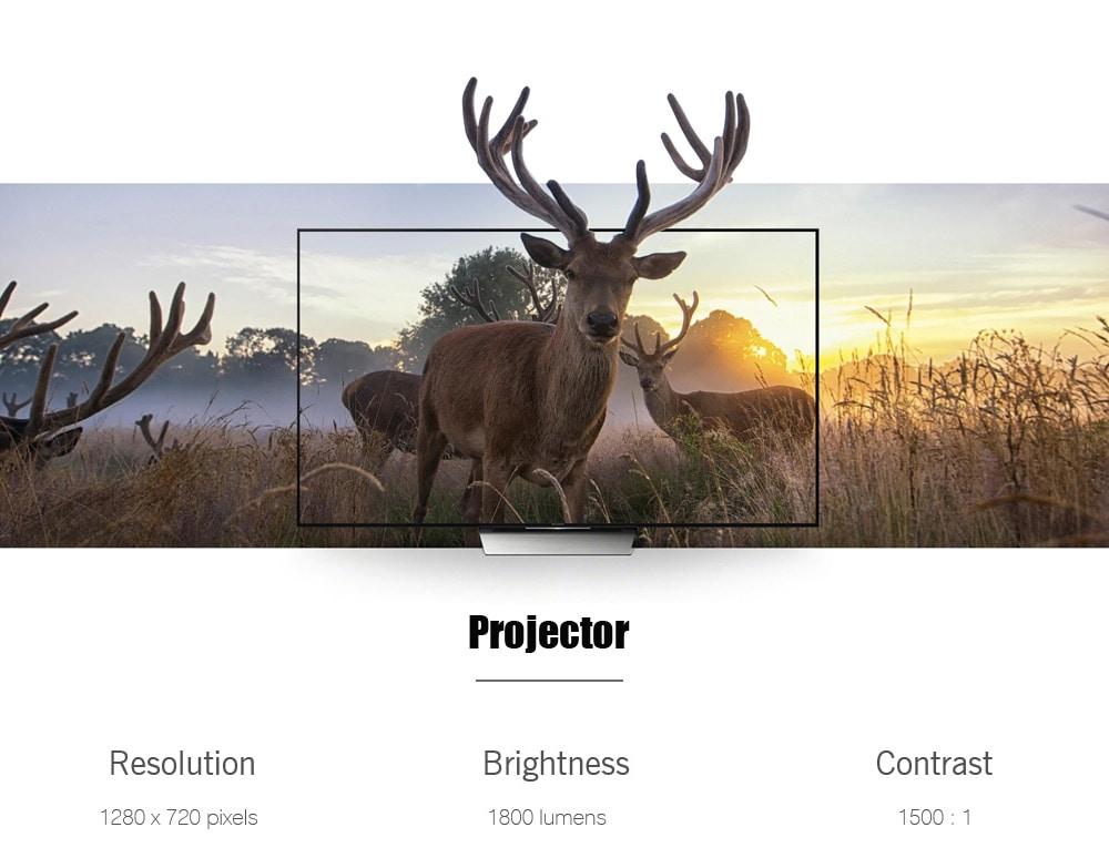 M16 Android 5.1 projektor 1800 Lumens 1280 x 720 Pixel házimozi - fekete EU csatlakozó