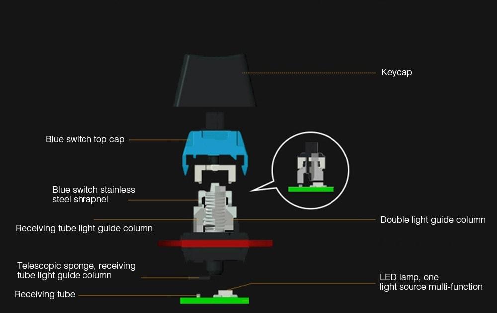 MAGIC _ REFINER mk15 Retro szellem elleni mechanikus billentyűzet - fekete