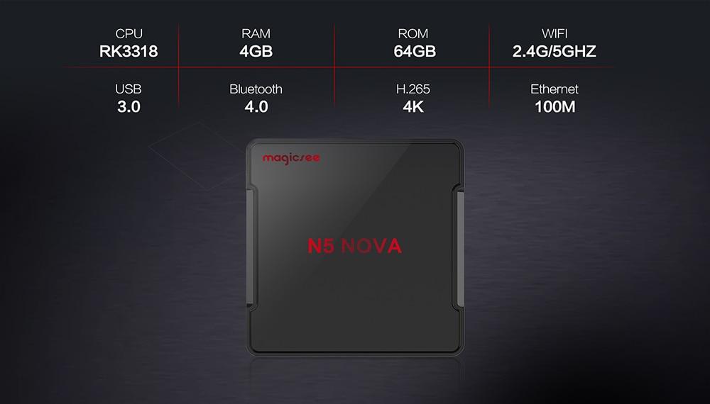 Magicsee N5 NOVA Android TV doboz 2,4 G-os távirányítóval Google Play / Rockchip3318 / Android 9.0 / 4 GB RAM + 64 GB ROM / 2,4 GHz + 5 GHz WiFi / VP6 / 8/9 / BT4.0 / LED kijelző / támogatás 4K-fekete 4 GB RAM + 64 GB ROM EU-csatlakozó