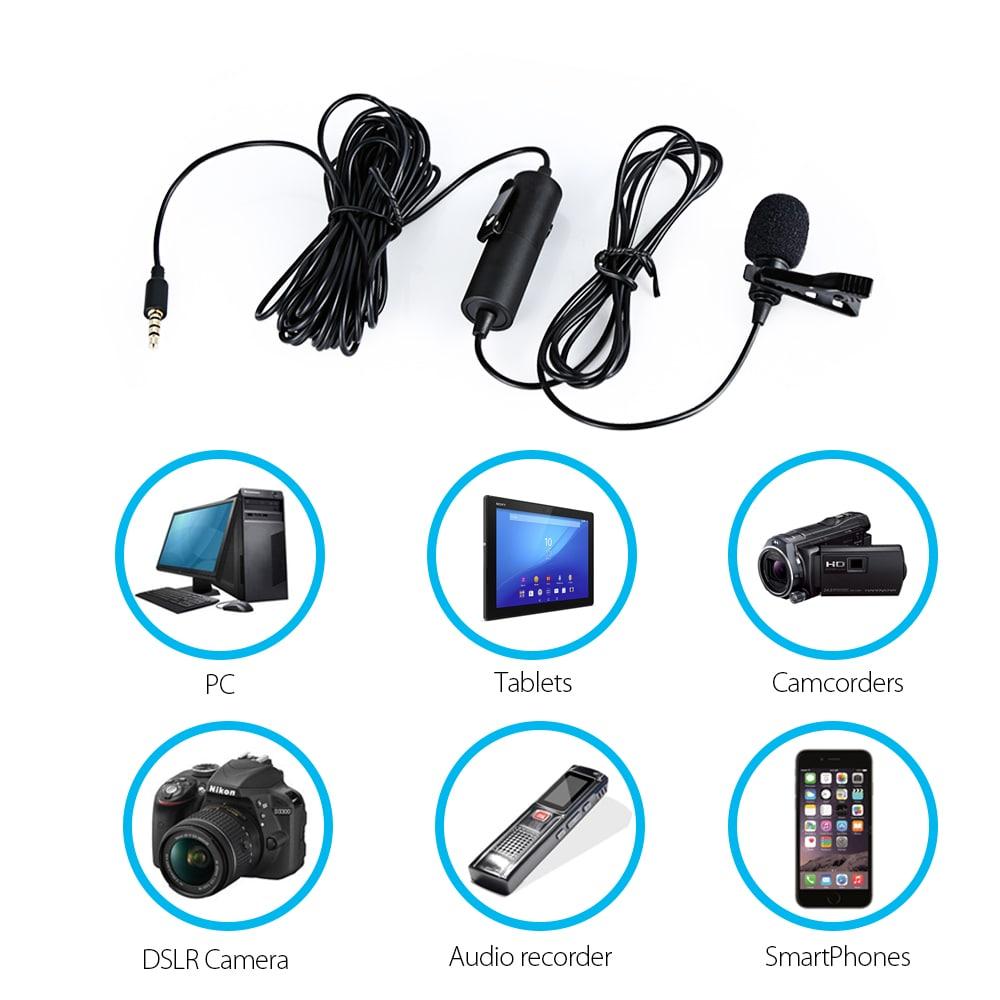 A MAONO AU - 100 kézibeszélő klipszeleppel ellátott mikrofon, egyirányú kondenzátorral DSLR fényképezőgéphez Smart Phone PC laptop - fekete