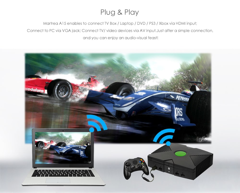 Martrea A15 2800 Lumen LCD Full HD projektor támogatása 1080P- Fehér EU dugó