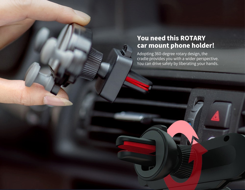Minismile 360-Degree Rotation Gravity Car Air Outlet Phone Holder for iPhone- Red
