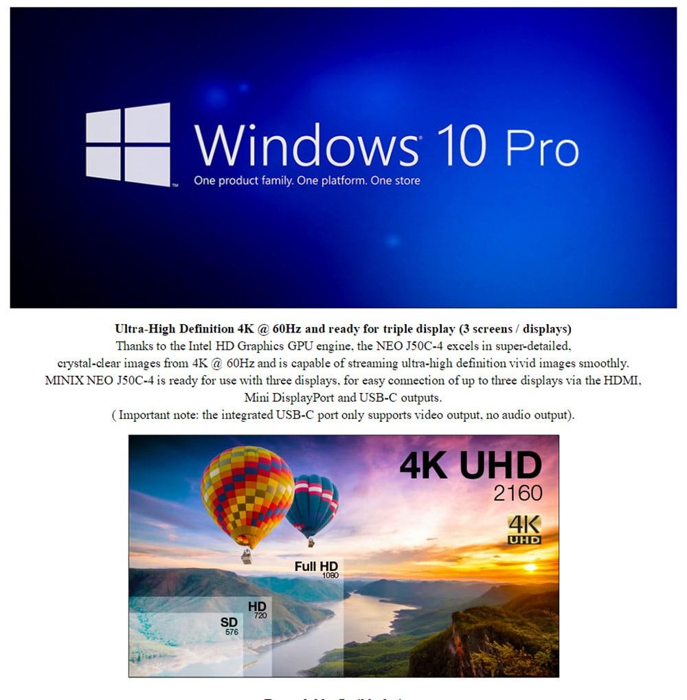 MINIX NEO J50C - 4 mini PC Windows 10 Pro / Intel Gemini tó Pentium J5005 / 4GB DDR4 + 32 GB EMMC / 2,4 GHz + 5 GHz-es WiFi / 1000Mbps LAN / Type-C / HDMI 2.0- Fekete