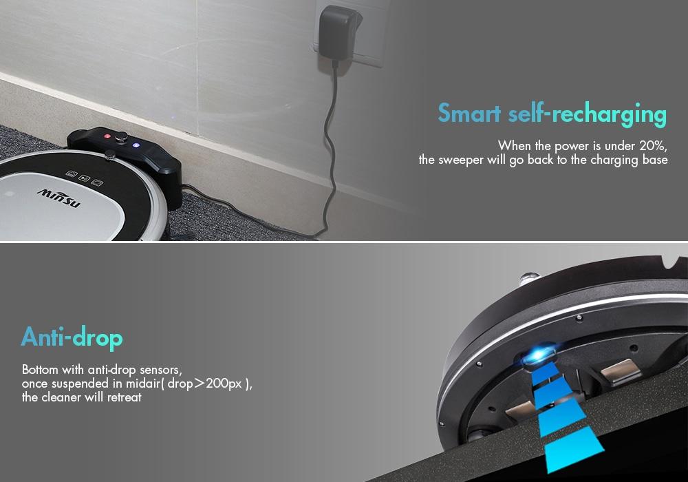 MinSu MSTC09 intelligens navigációs robotszivattyú távirányító padlótisztító robot - fehér EU-csatlakozó