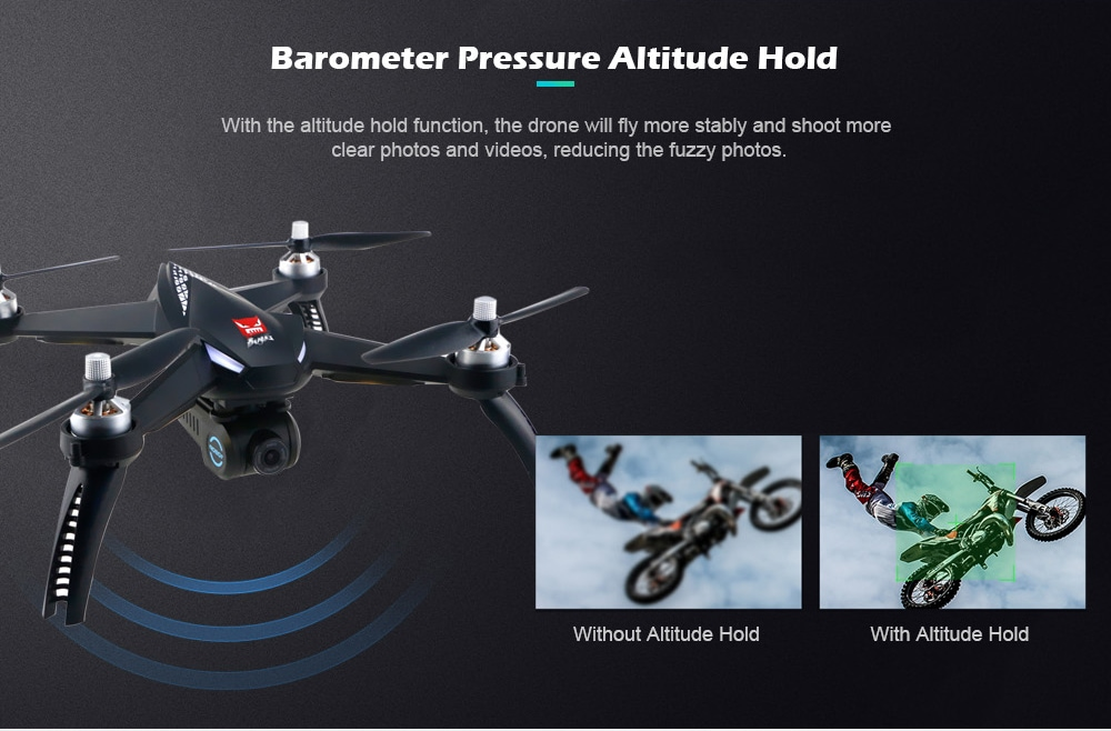 MJX Bugs 5W ( B5W ) WiFi FPV 1080P Camera / Waypoints / Point of Interest / Altitude Hold / One Key Follow RC Drone- Gray 2 Batteries