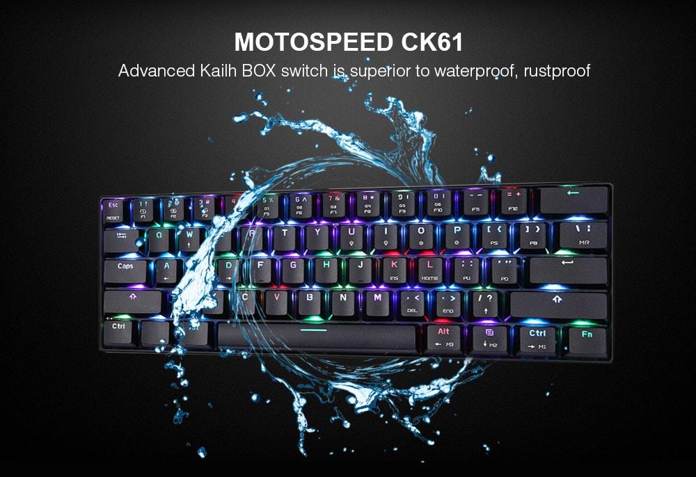 MOTOSPEED CK61 NKRO játékmechanikus billentyűzet Kailh BOX kapcsolóval - fekete