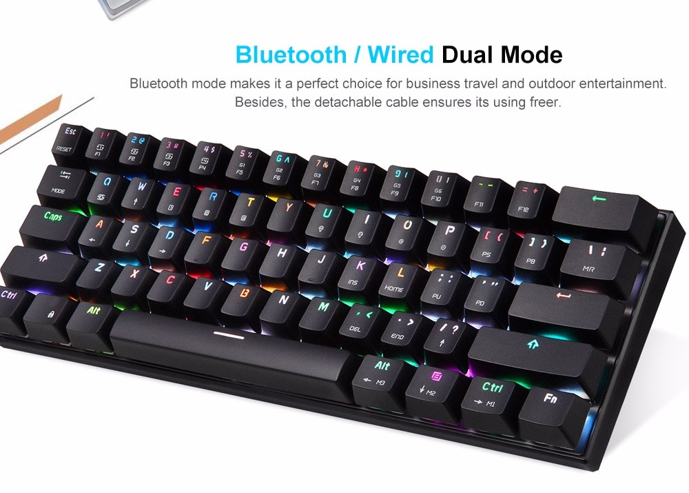 MOTOSPEED CK62 Wired Bluetooth Dual Mode Mechanical Keyboard with RGB Backlight- White Red Switch