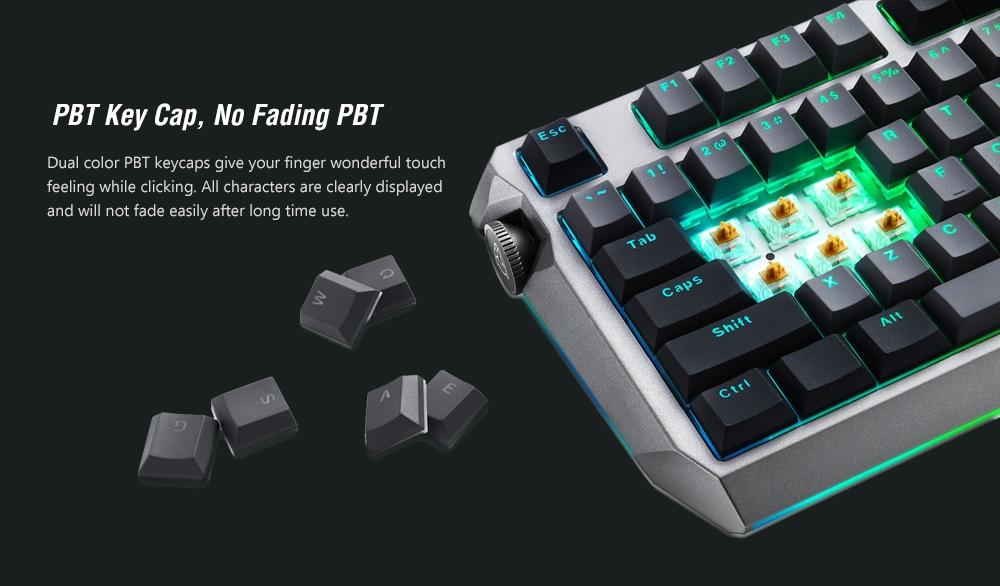 MOTOSPEED CK80 vezetékes mechanikus játék billentyűzet RGB háttérvilágítás PBT kulcskapcsoló Minden kulcsszellem - fekete ezüst kapcsoló (piros kapcsoló)