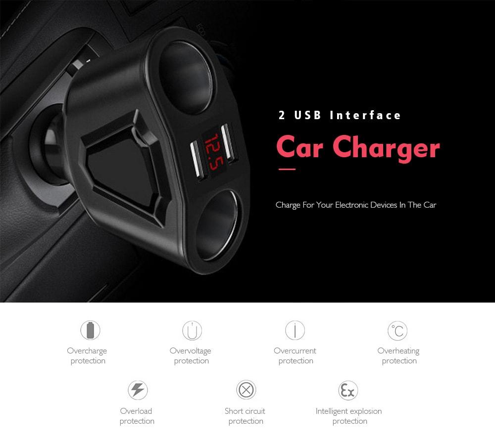 Kreatív multifunkciós 2 USB interfész autós töltő - fekete
