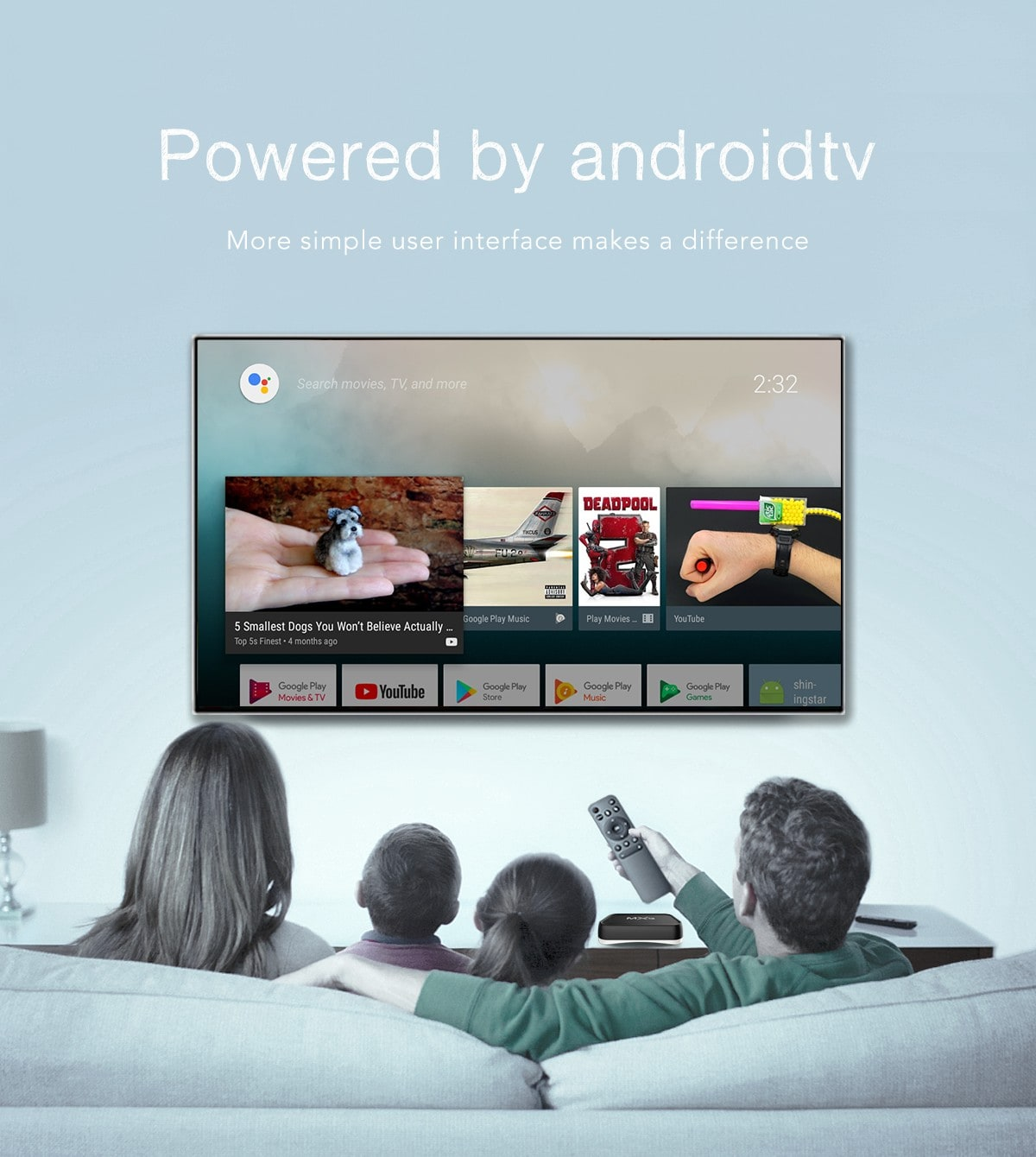 MXQ S10X intelligens TV doboz Voice Remote Amlogic S905X / Android 7.1 / 2.4GHz + 5 GHz WiFi / Bluetooth 4.0 / VP9 / 10 / H.265 / Támogatás 4K 30fps - Fekete 2 GB RAM + 16 GB ROM EU-csatlakozó