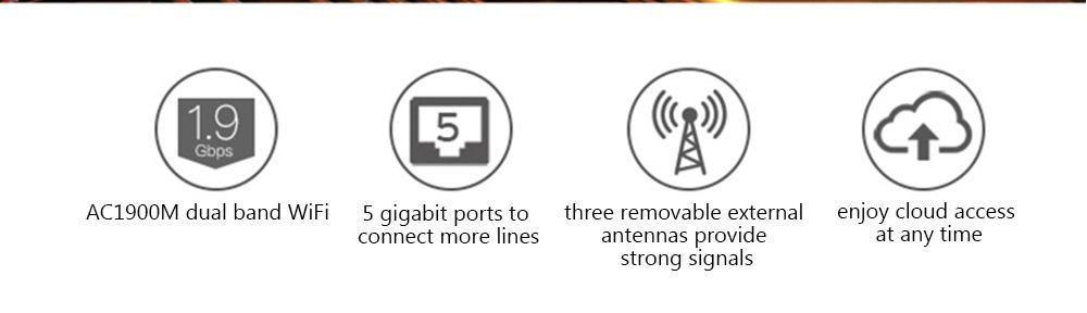NETGEAR R6800 AC1900 Wireless Router Dual Band / Gigabyte LAN / 5300Mbps / 4 x 5dBi Antenna- Black