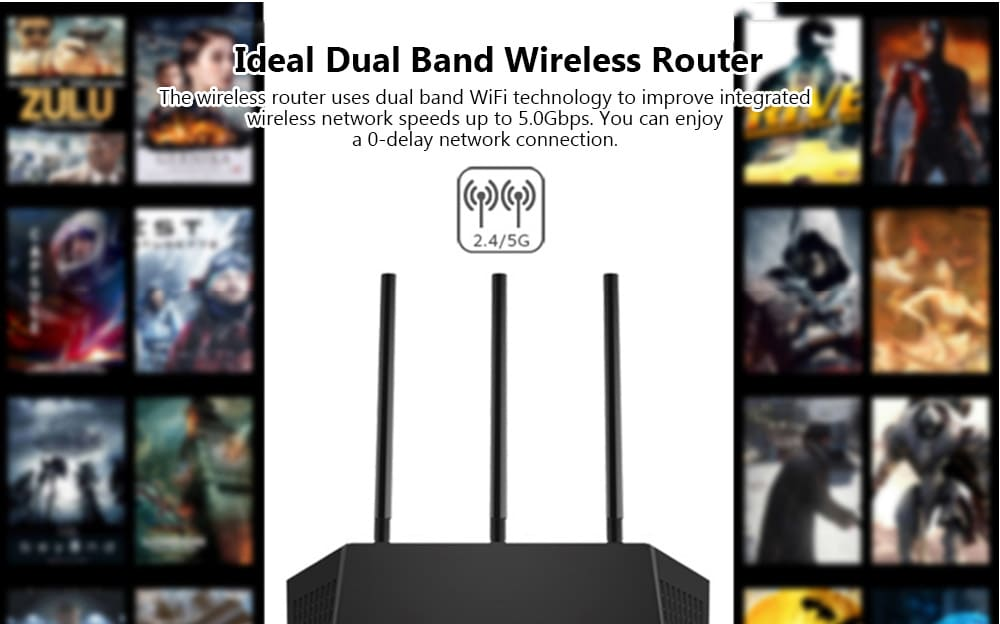 NETGEAR R6800 AC1900 Wireless Router Dual Band / Gigabyte LAN / 5300Mbps / 4 x 5dBi Antenna- Black