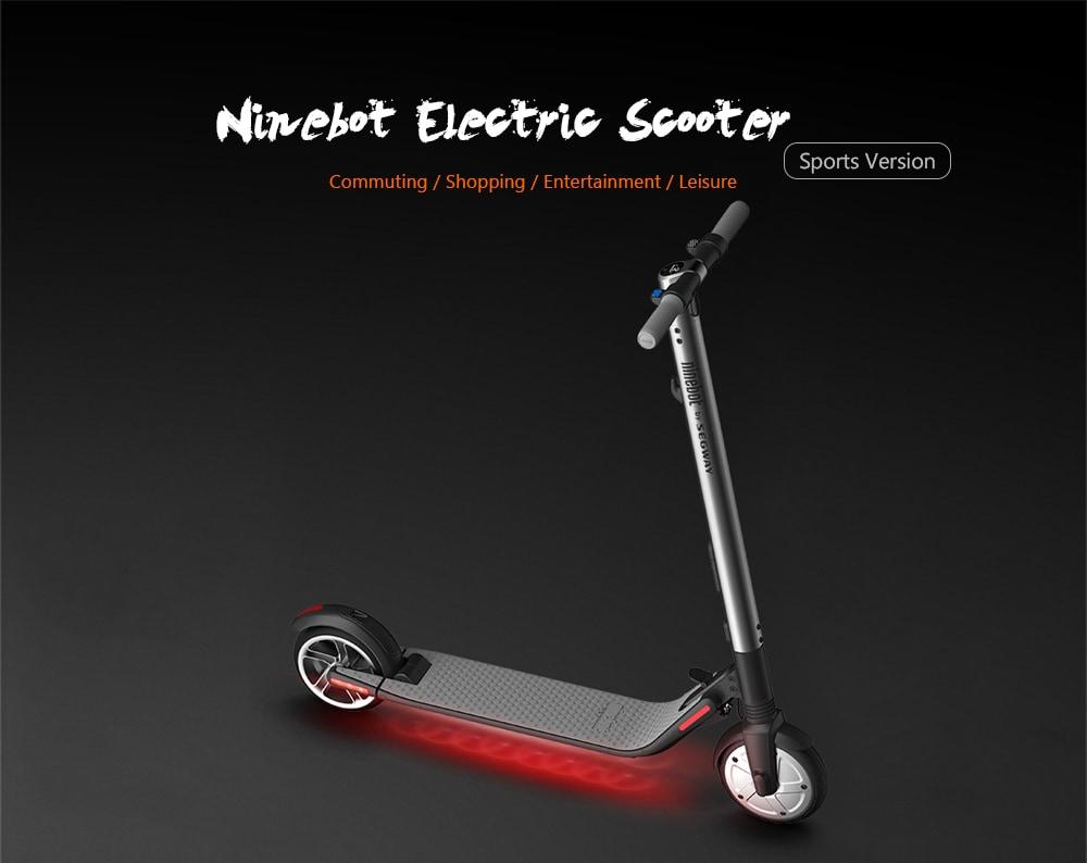 Ninebot Segway ES2 Shockproof Folding Electric Scooter CN Plug / 5.2Ah Battery- Black